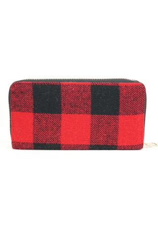Plaid Red Black Wallets