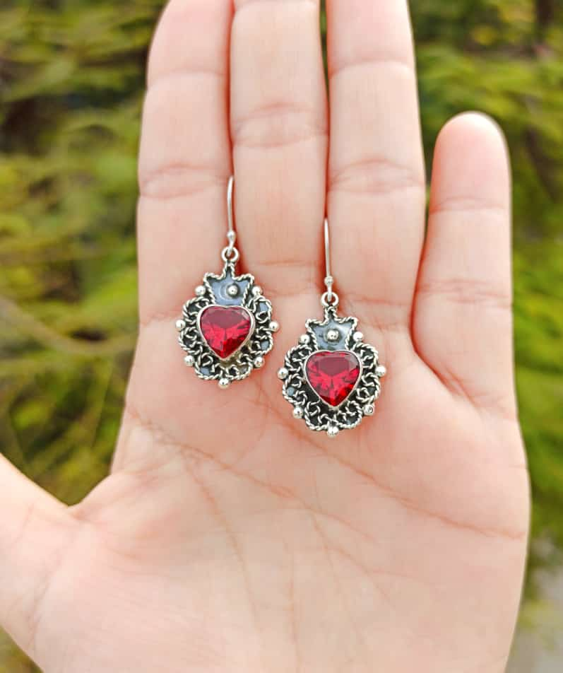 Silver 925 Red Stone Sacred Heart Dangling Earrings