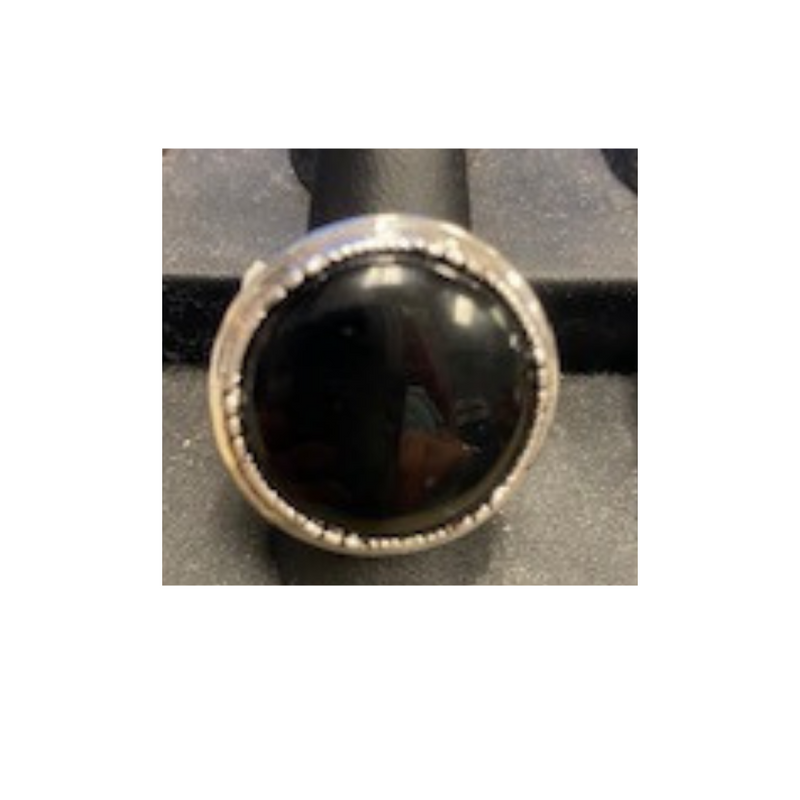 Ring Adjustable Black Stone and Silver