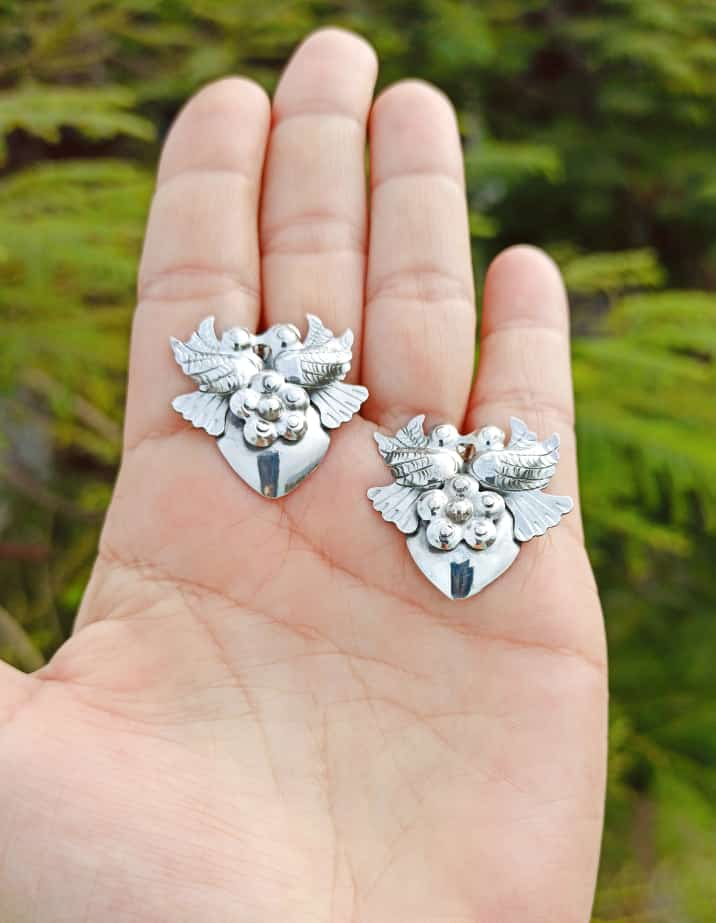Silver 925 Artisan Dove Earrings