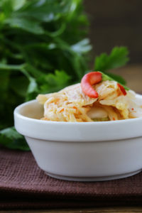 Image of traditional Korean Kimchi in a white bowl