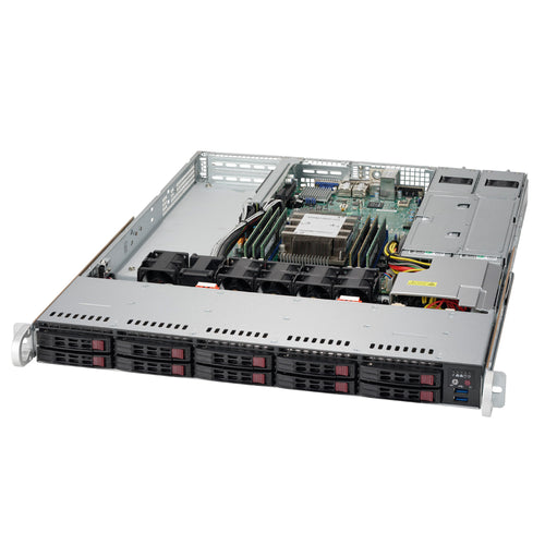 "Supermicro SuperServer 1019P-WTR 1U Rackmount Barebone Server with Dual 10G Ethernet, IPMI, 10 x 2.5"" Drive Bays, 1 x M.2 NVMe, Redundant PSU, Single Socket P Intel Xeon Purley CPU"