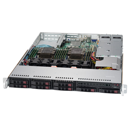 "Supermicro SuperServer 1029P-WTR 1U Rackmount Barebone Server with Dual Gigabit Ethernet, IPMI, 8 x 2.5"" Drive Bays, 1 x M.2 NVMe, Redundant PSU, Dual Socket P Intel Xeon Purley CPU"