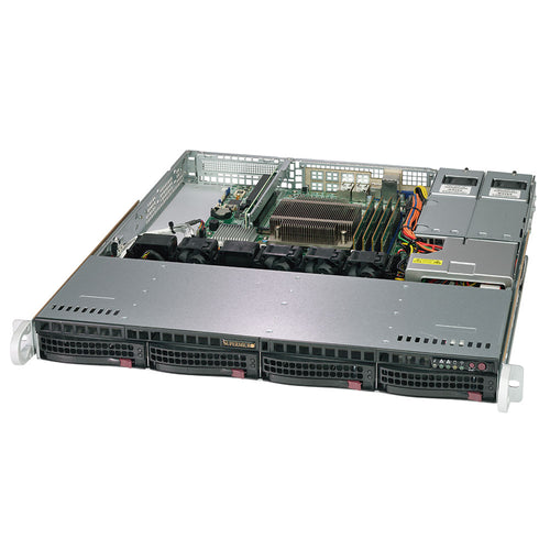 "Supermicro 5019C-MR Xeon E-2100 1U Rackmount w/ Redundant Power Supply, 4 x 3.5"" Drive Bays"