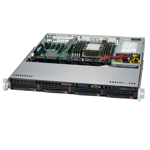 "Supermicro SuperServer 5019P-MT 1U Rackmount Barebone Server with Dual 10G Ethernet, IPMI, 4 x 3.5"" Drive Bays, 1 x M.2 NVMe, Single Socket P Intel Xeon Purley CPU"