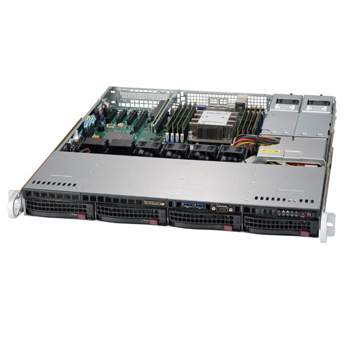 "Supermicro SuperServer 5019P-MTR 1U Rackmount Barebone Server with Dual 10G Ethernet, IPMI, 4 x 3.5"" Drive Bays, 1 x M.2, Redundant PSU, Single Socket P Intel Xeon Purley CPU"