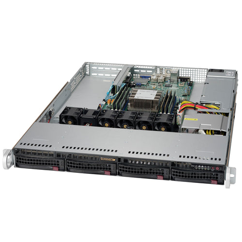 "Supermicro SuperServer 5019P-WT 1U Rackmount Barebone Server with Dual 10G Ethernet, IPMI, 4 x 3.5"" Drive Bays, 1 x M.2 NVMe, Single Socket P Intel Xeon Purley CPU"