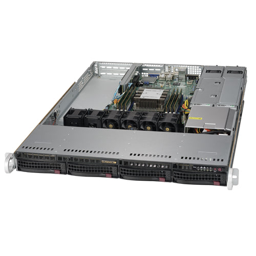"Supermicro SuperServer 5019P-WTR 1U Rackmount Barebone Server with Dual 10G Ethernet, IPMI, 4 x 3.5"" Drive Bays, 1 M.2 NVMe, Redundant PSU, Single Socket P Intel Xeon Purley CPU"