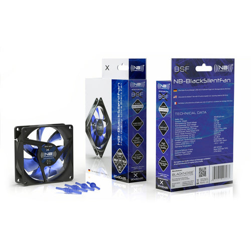 Noiseblocker NB-BlackSilent Fan X-2 80mm Ultra Silent Fan, 1800rpm, 3 pin,18 dBA