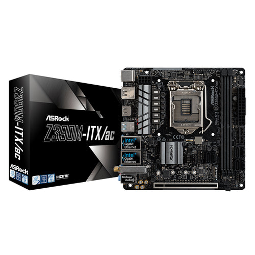 ASRock Z390M-ITX/ac 8th/9th Gen Core Mini ITX Motherboard, Dual LAN with Teaming