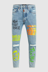 Tigha X Dim Mak Painted Denim Jeans