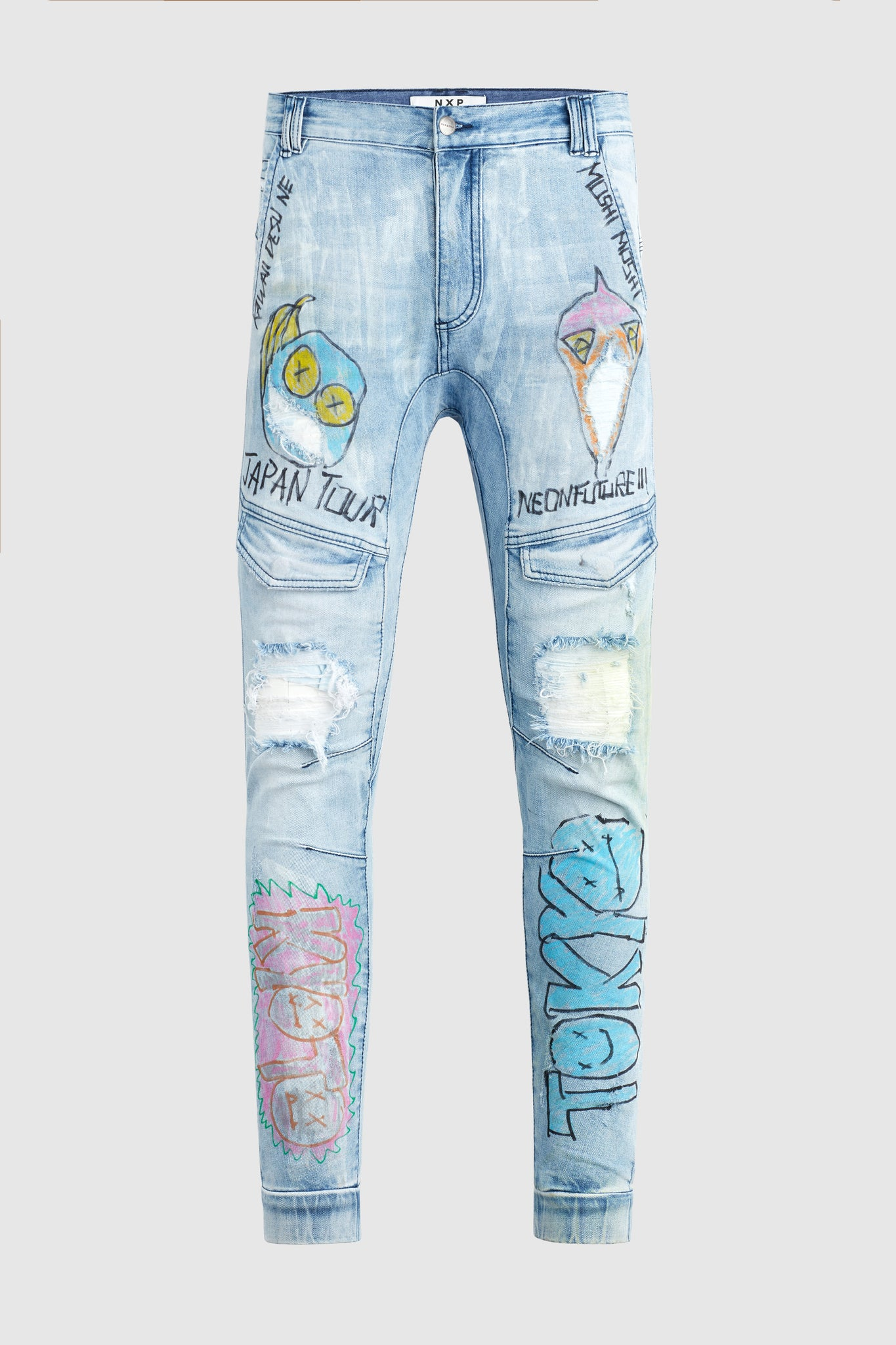 """Japan Tour"" - Hand Painted Jeans by Steve Aoki #4"