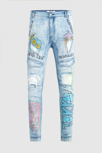 """Japan Tour"" - Hand Painted Jeans by Steve Aoki"