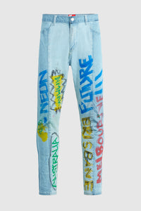 """Australia Tour"" - Hand Painted Jeans by Steve Aoki"