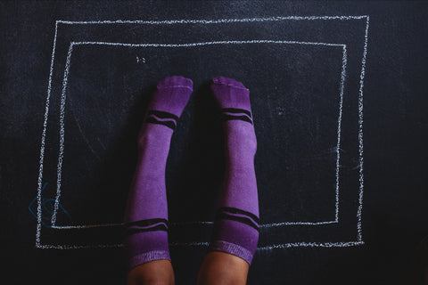 Royal Purple Crayon Hand Painted Socks