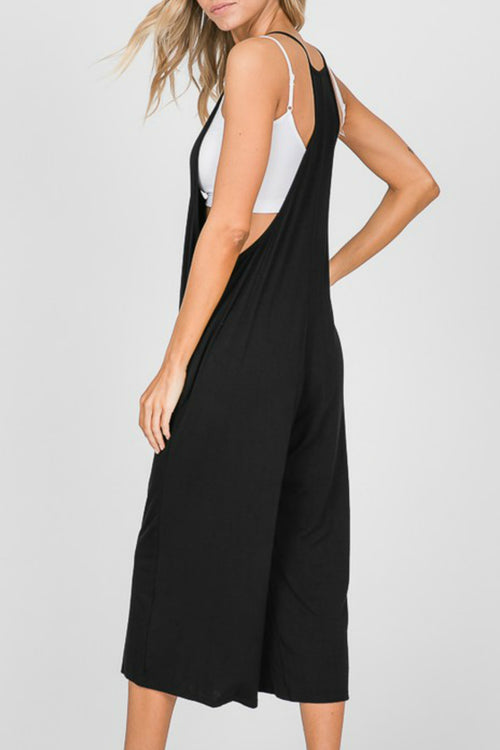Sleeveless Black Cropped Jumpsuit