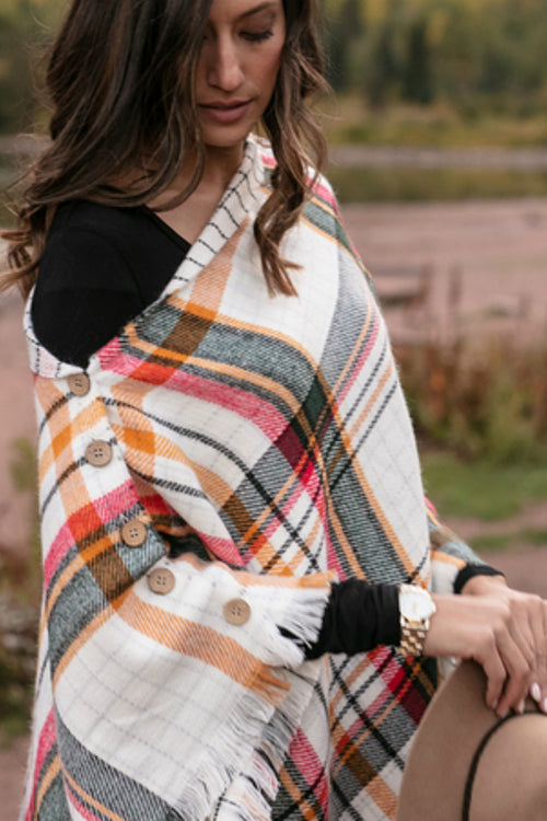 Reversible Button Scarf/Poncho - Ivory Plaid