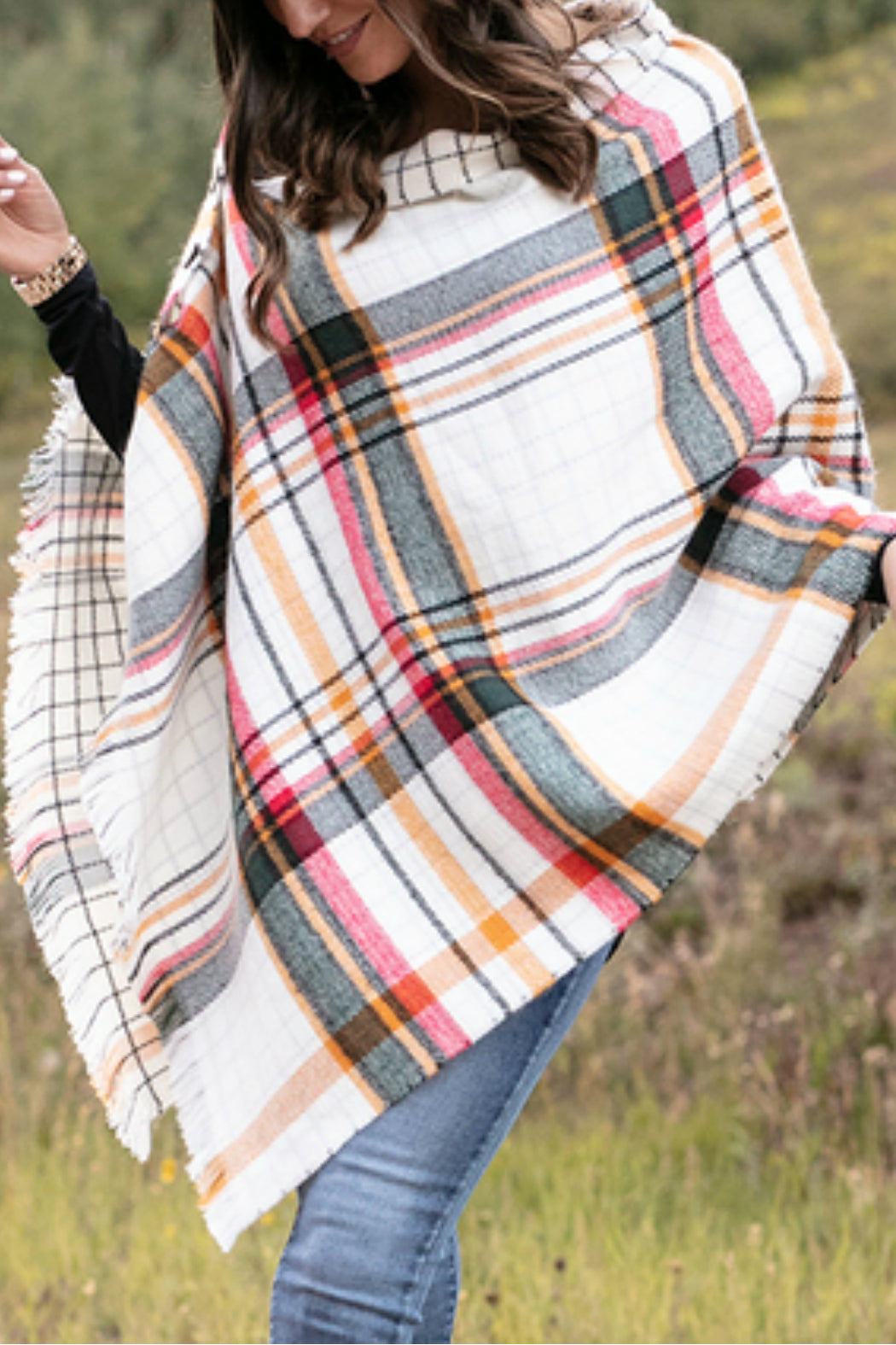 Reversible Button Scarf/Poncho by Grace & Lace - Ivory Plaid
