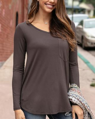 Perfect Pocket Tee by Grace & Lace - Portabello