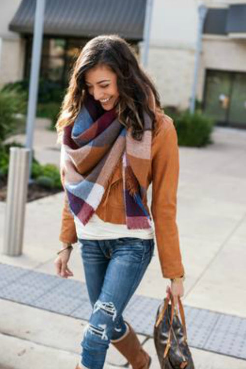 Blanket Scarf/Toggle Poncho by Grace & Lace - Multi color Color Block