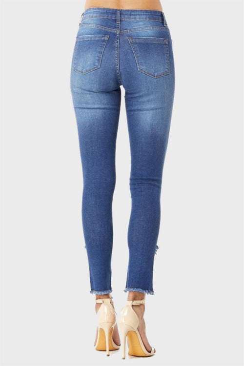 Mid-Rise Frayed Ankle Skinny Jeans