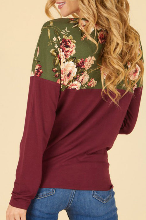 Burgundy/Olive Color Block Top w/ Floral Yoke