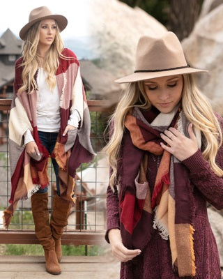 Poncho/Blanket Scarf with Pockets by Grace & Lace - Pumpkin Spice Check