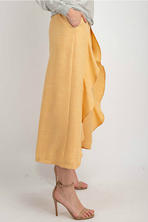 Draped Linen Wide-Leg Ruffled Pants