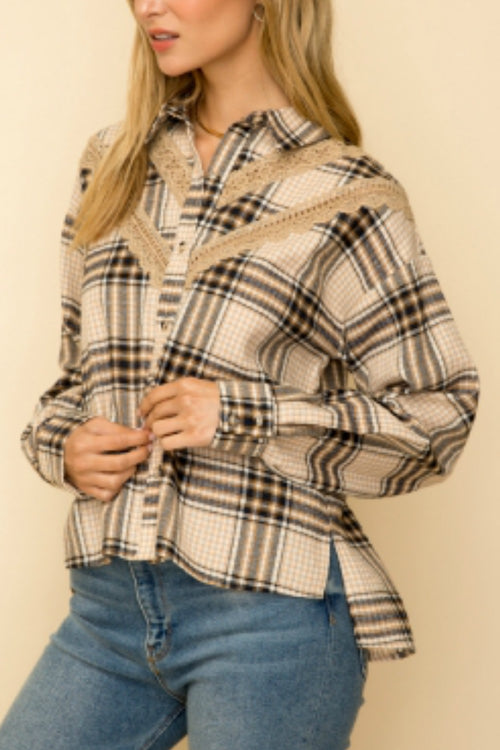 Over-sized Plaid Button Down Shirt