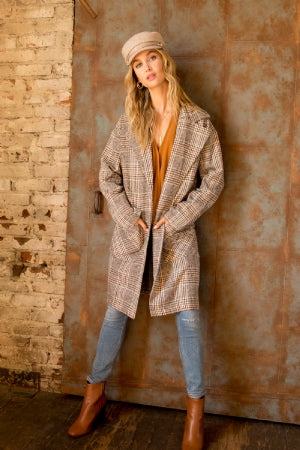 Over sized Plaid Duster Coat