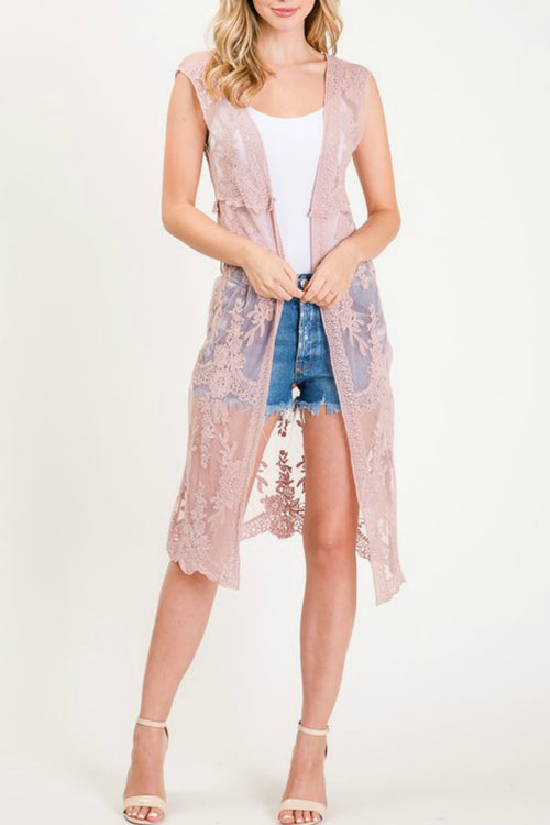 Sleeveless Lace Duster Vest