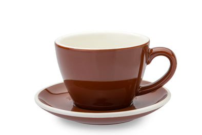 6 x BROWN 8oz Cup & Saucer