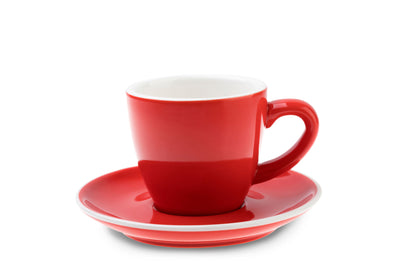 6 x RED 6oz Cup & Saucer