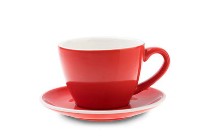 6 x RED 8oz Cup & Saucer