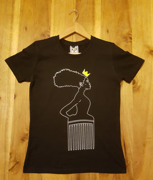 Womens| Goddess Maat Outline Silhouette - Black Tee