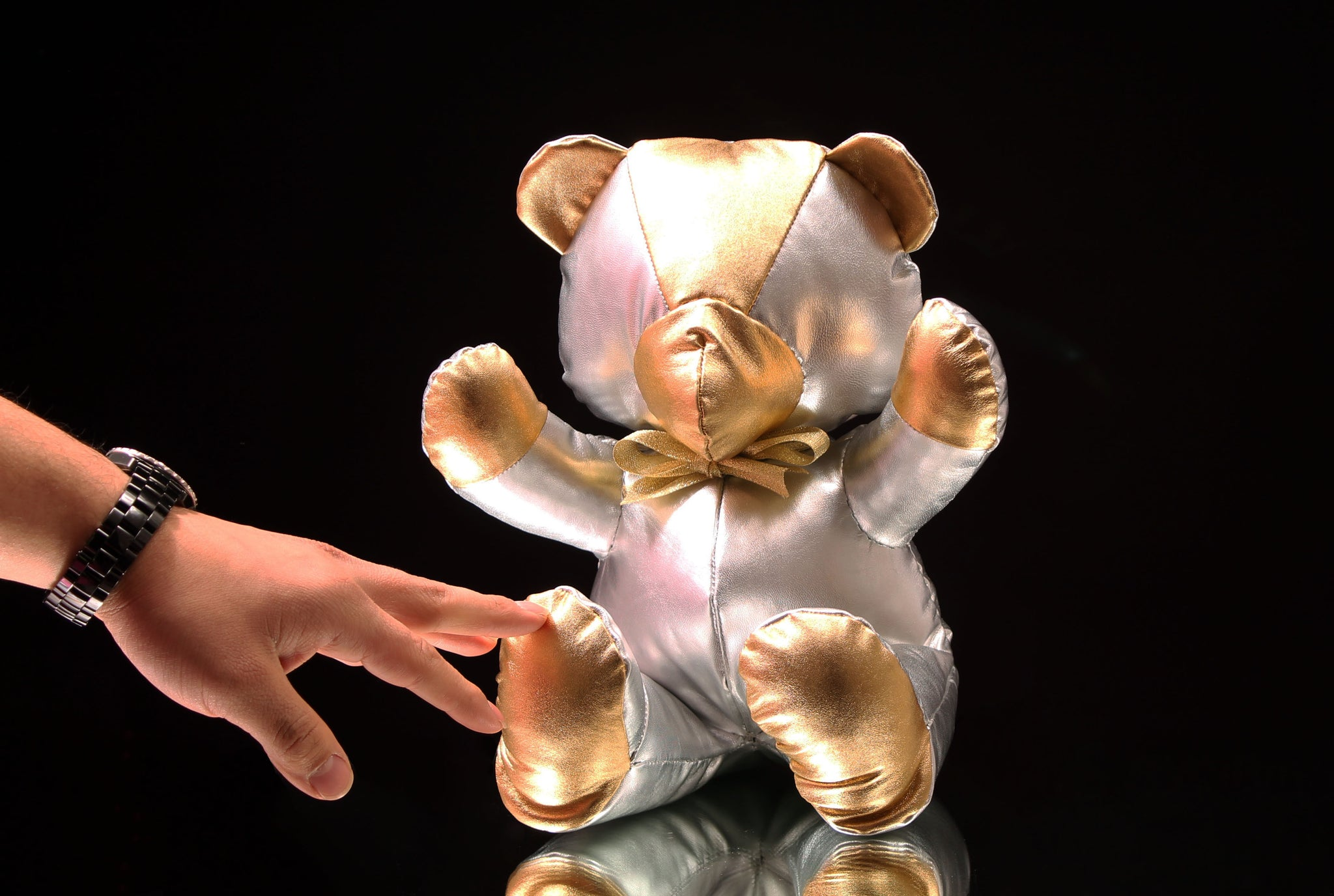 "Metallic Leather Teddy Bear (12"")"