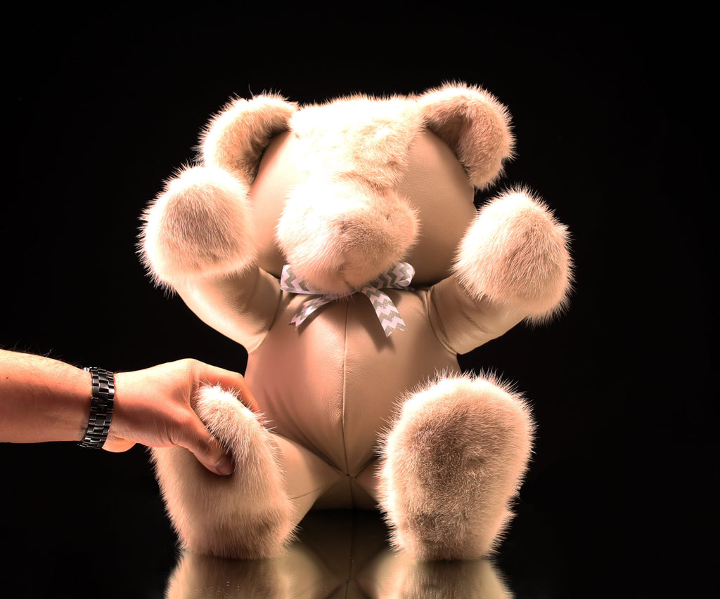 "Leather & Fur Teddy Bear (16"")"