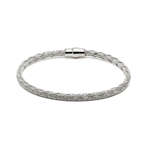 Durrah Jewelry Silver Woven Bracelet For Him