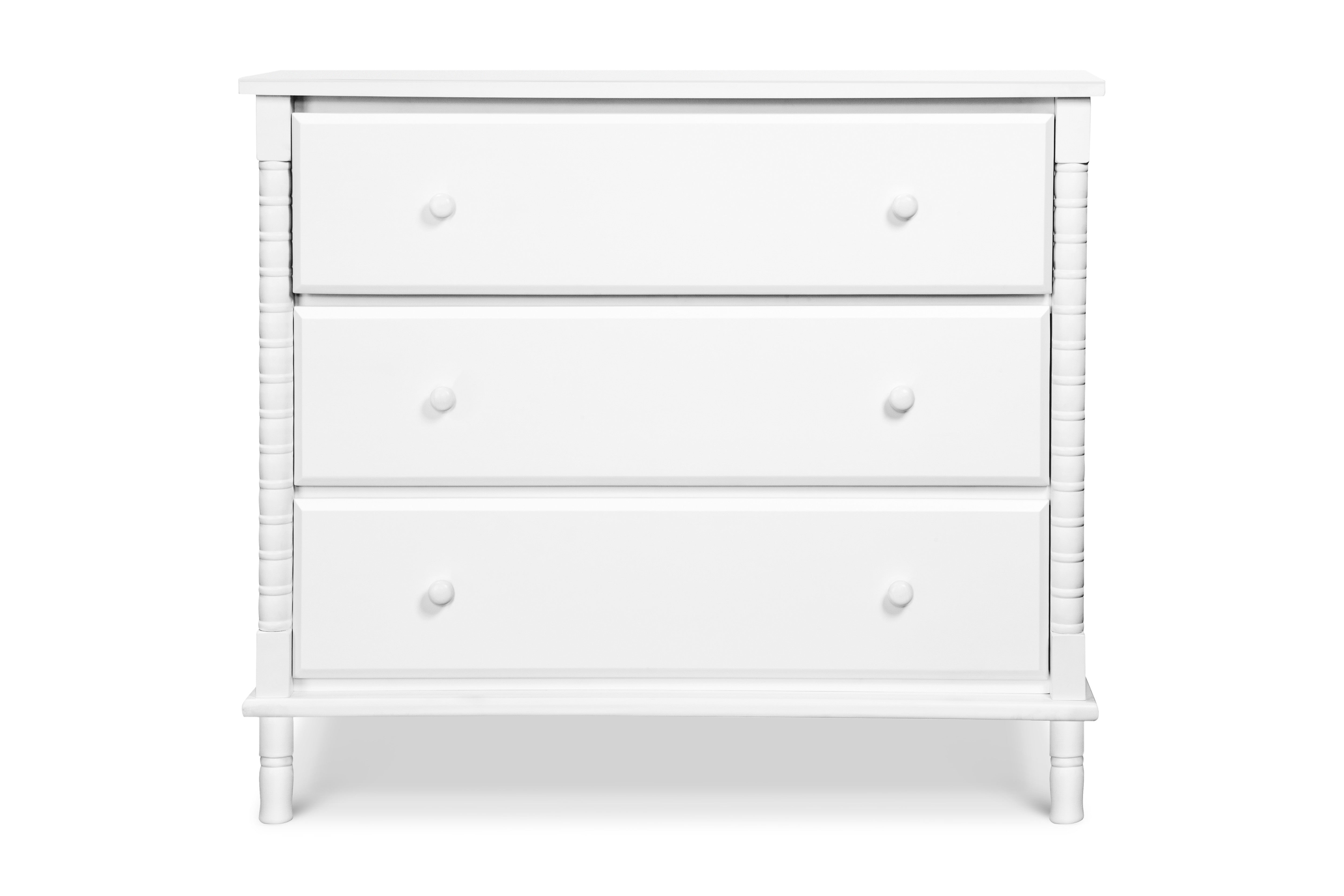 M7323W,Jenny Lind Spindle 3-Drawer Dresser in White