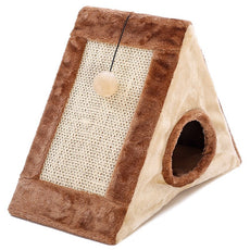 Brown Triangle Cat Cave & Scratcher
