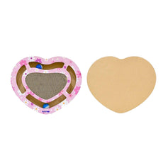 Heart Shaped Cat Scratcher Board & Ball Maze