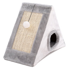 Gray Triangle Cat Cave & Scratcher