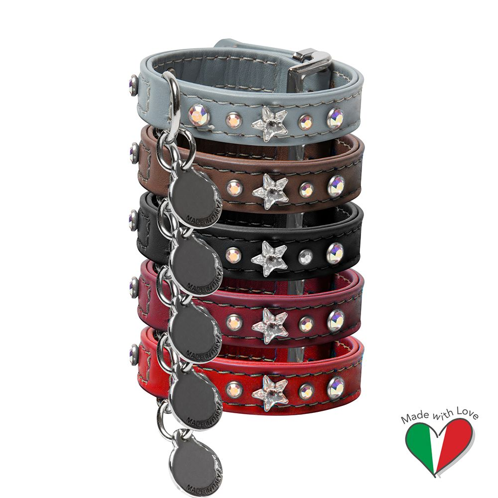 High-Grade Leather Cat Collar With Swarovski Crystals - Made In Italy