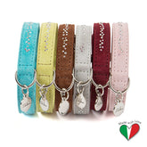 Nubuck Suede Collar With Swarovski Crystals  - Made In Italy