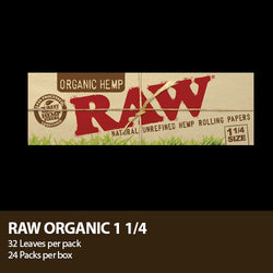 Raw® Organic Hemp Rolling Papers - 1 1/4 Organic - Set of 24
