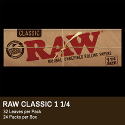 Raw® Classic Rolling Papers - 1 1/4 Classic - Set of 24