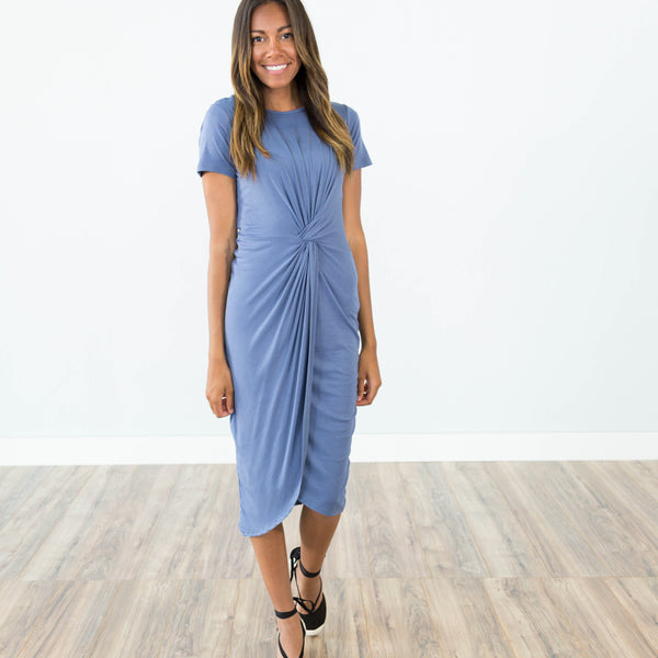 Heather Knot Dress in Denim Blue