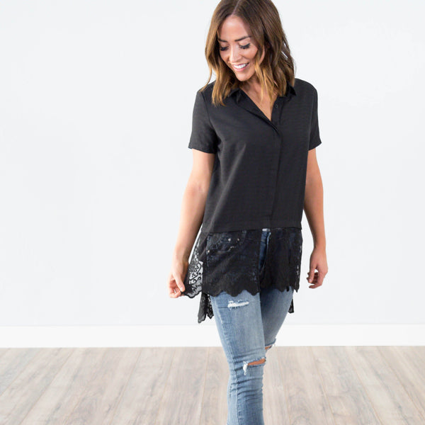 Skylar Black Lace Top