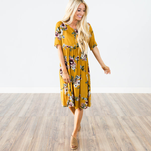 Brooklyn Printed Dress in Mustard