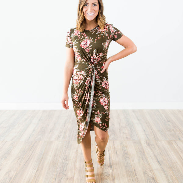 Rowe Printed Dress in Olive